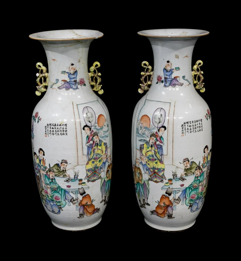 A Pair of Large Chinese Porcelain Urns
