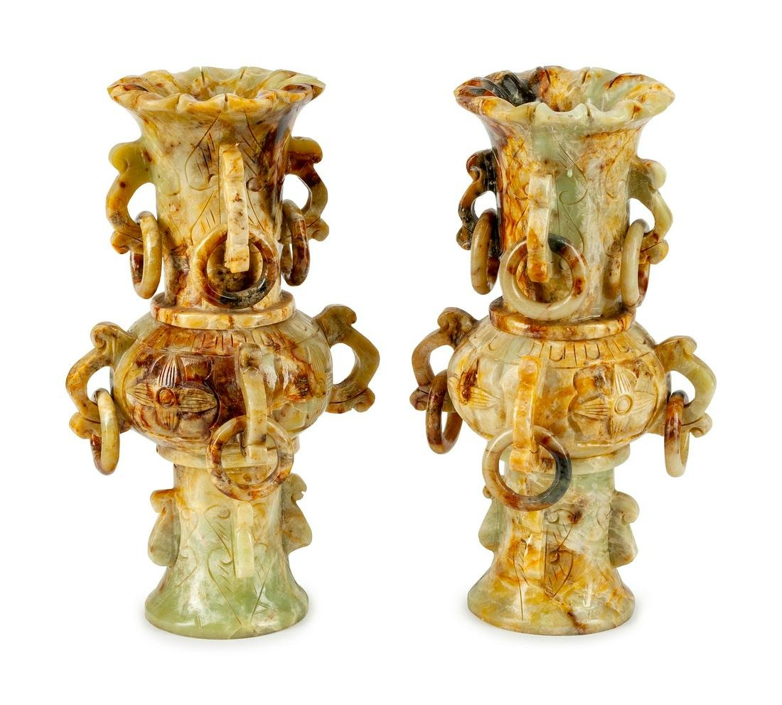 A Pair of Chinese Soapstone Vases
