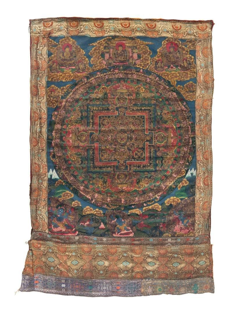 A Tibetan Thangka of a Mandala