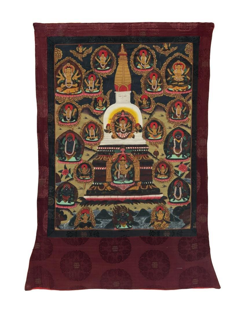 A Tibetan Thangka: Buddha in a Stupa