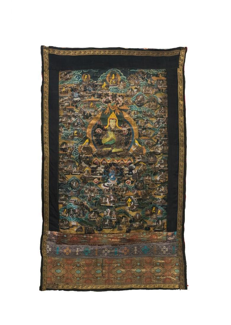 A Tibetan Thangka: Buddha and the Assemblage of the