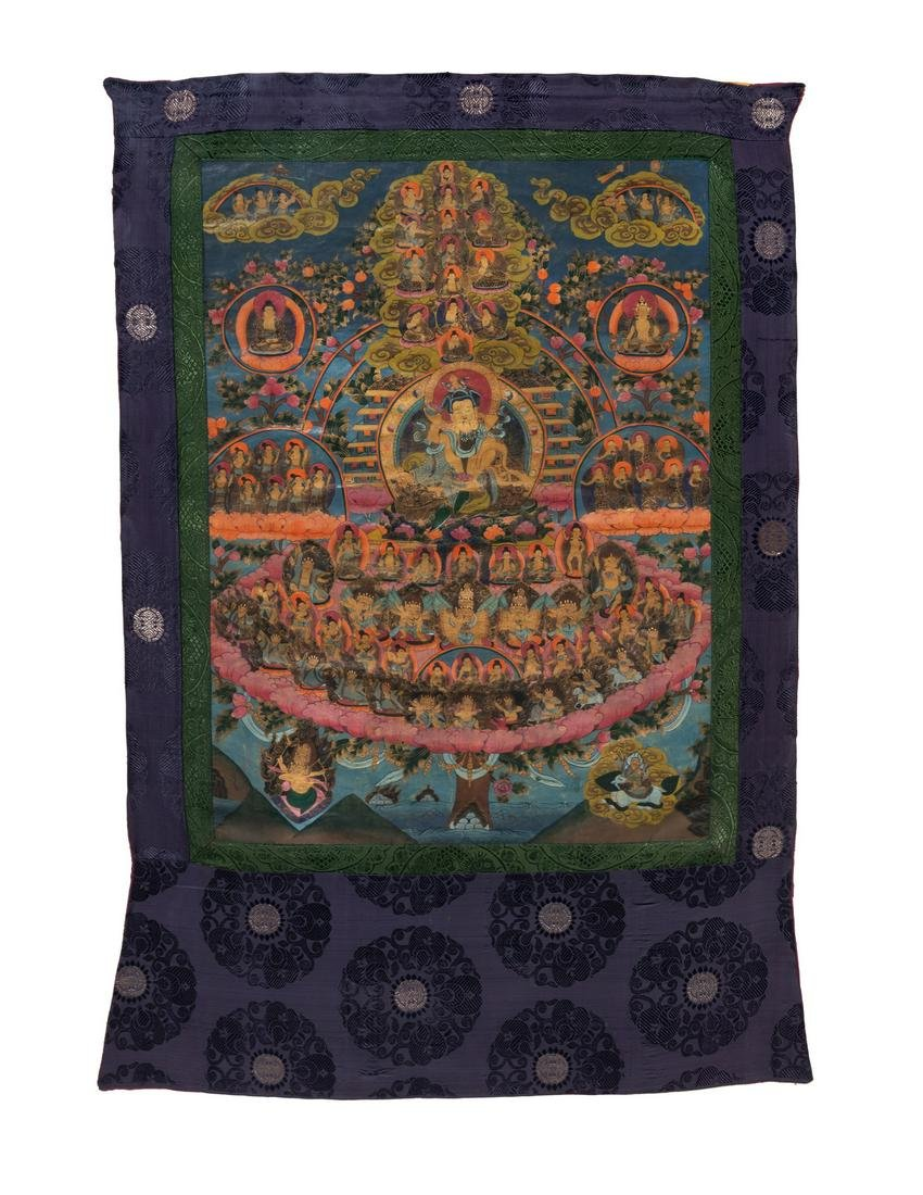 A Tibetan Thangka: Buddha and the Asemblage of the
