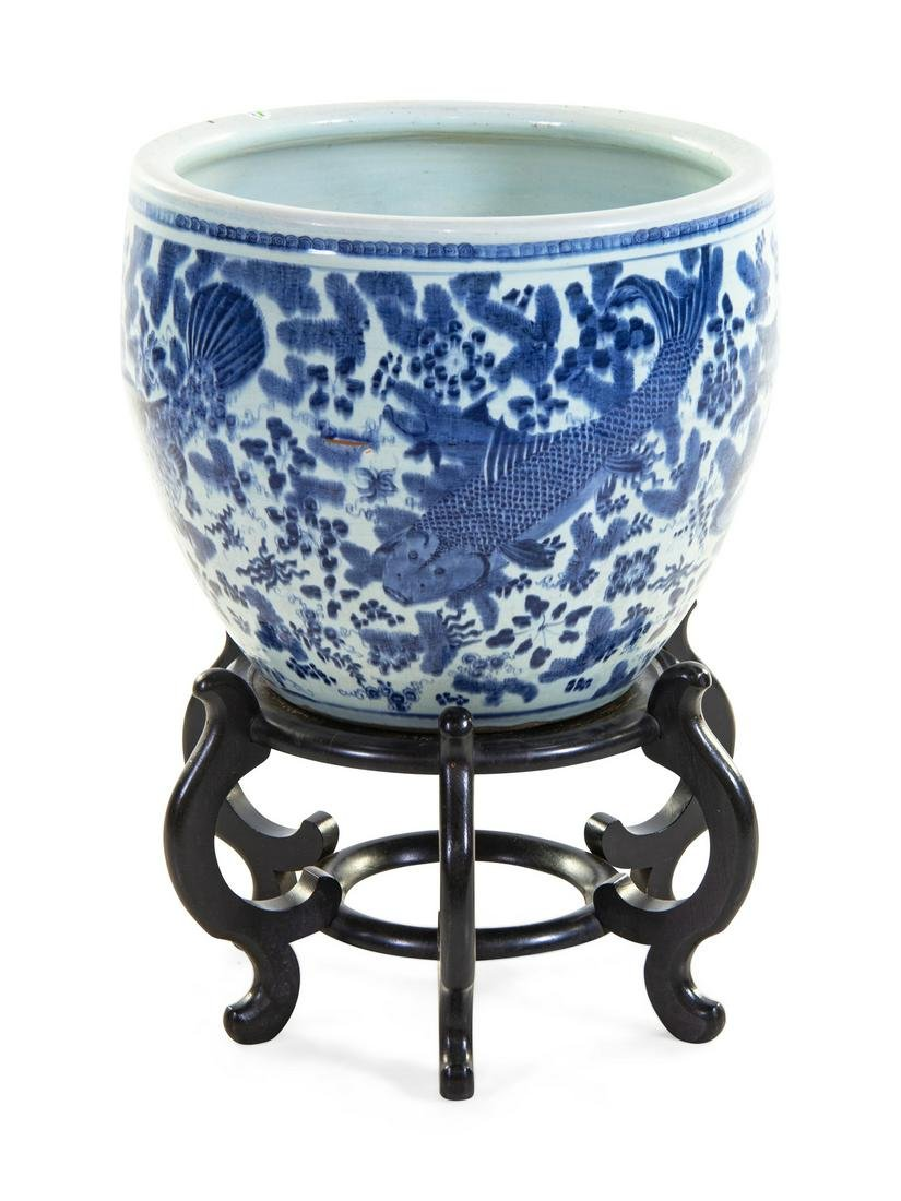 A Large Blue and White Porcelain Fish Bowl Height 18