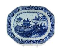 A Chinese Export Canton Blue and White Porcelain Soup