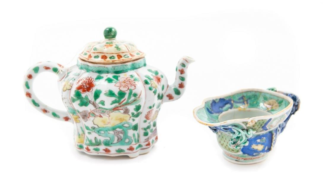 Two Famille Verte Porcelain Articles Teapot: height 4