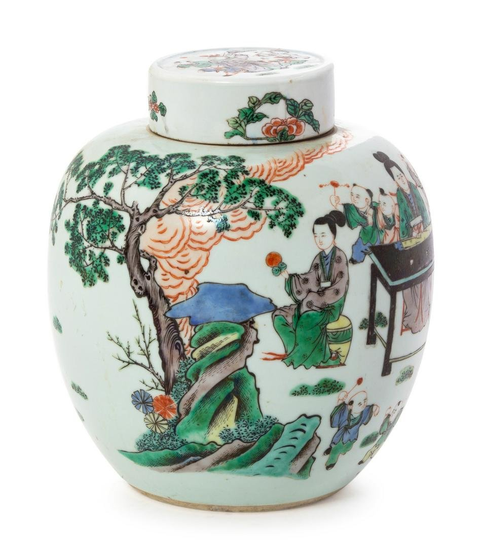 A Famille Verte Porcelain Covered Jar Overall: height