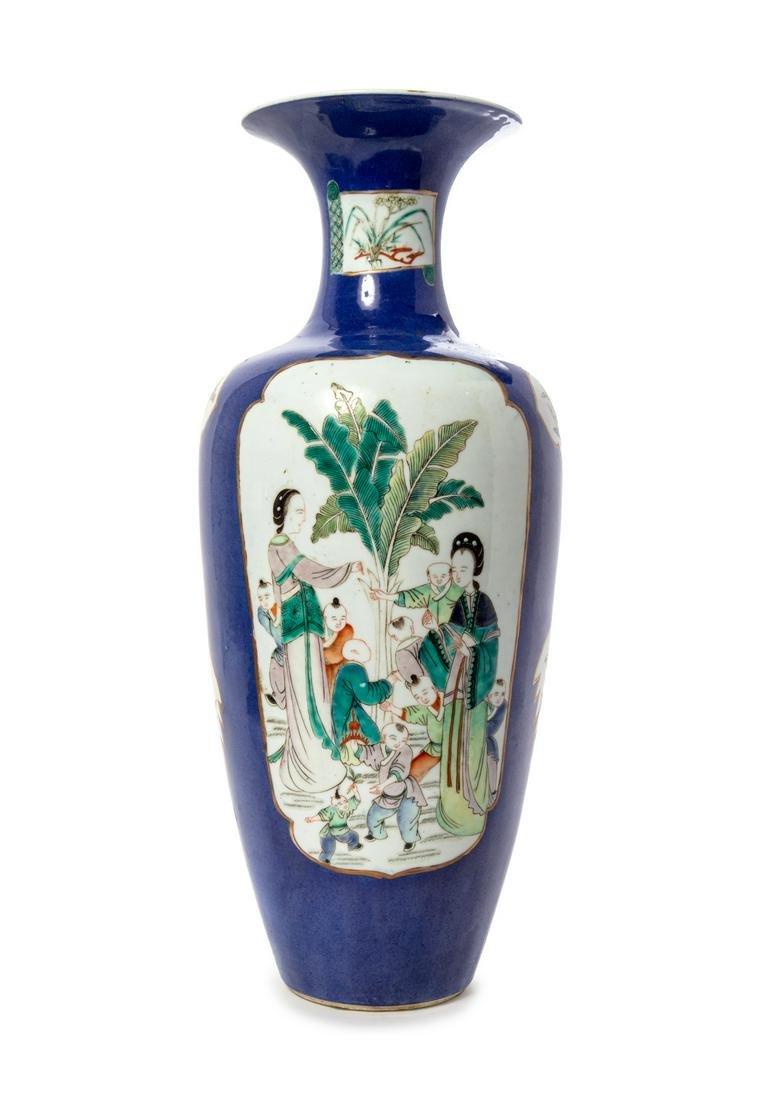 A Powder Blue Ground Famille Verte Porcelain Rouleau