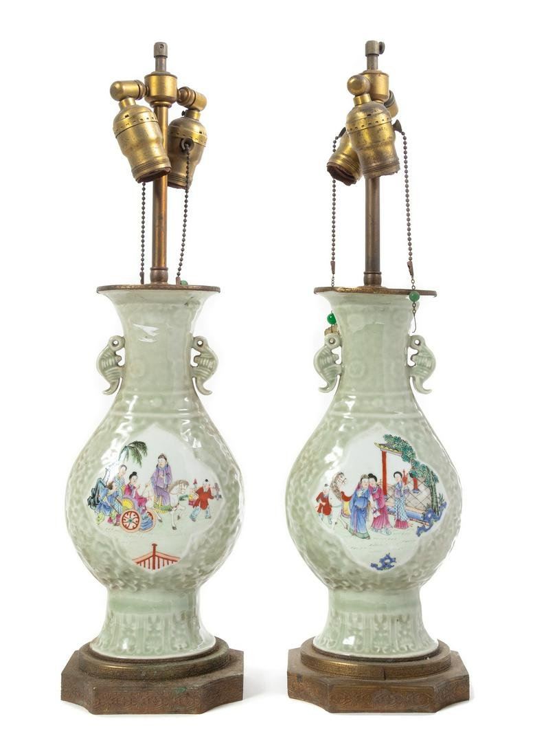 A Pair of Celadon Ground Famille Rose Porcelain Vases