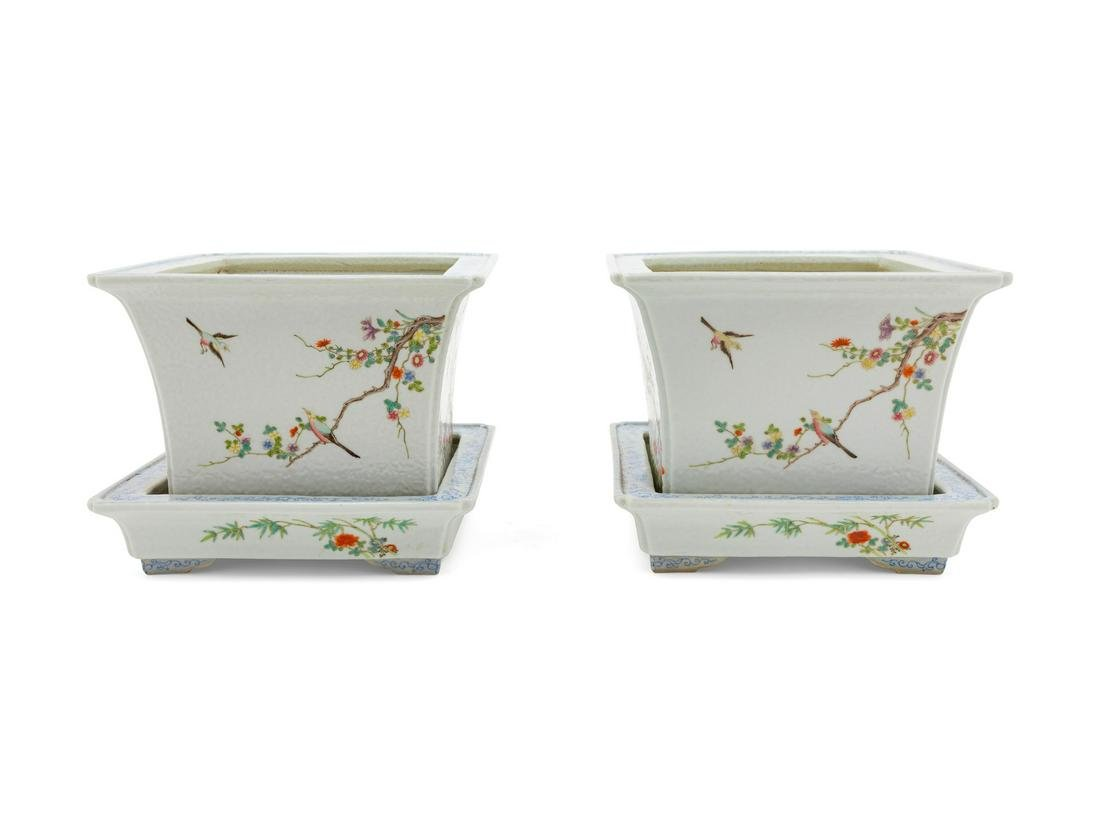 A Pair of Famille Rose Porcelain Square Flower Pots and