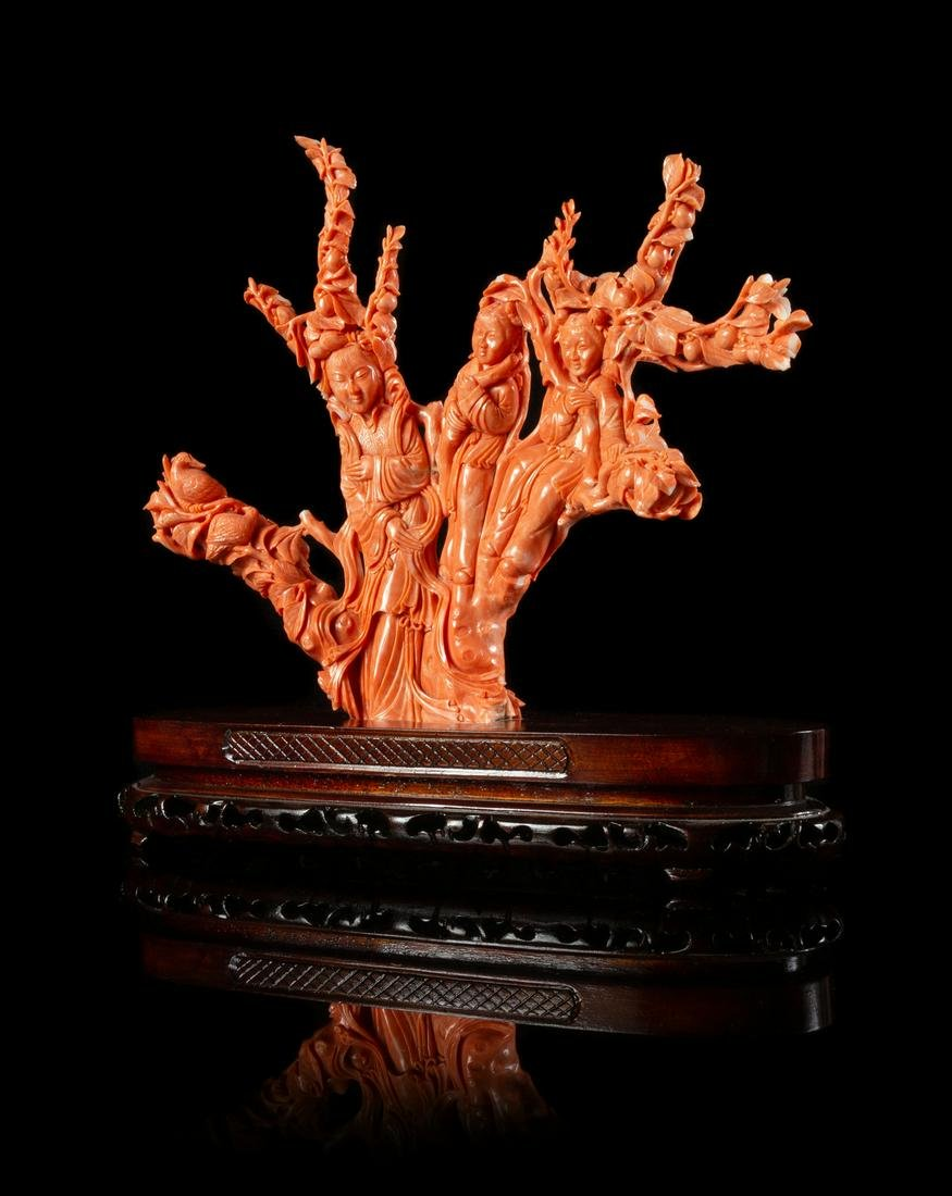 A Large Red Coral Figural Group of Female Immortals