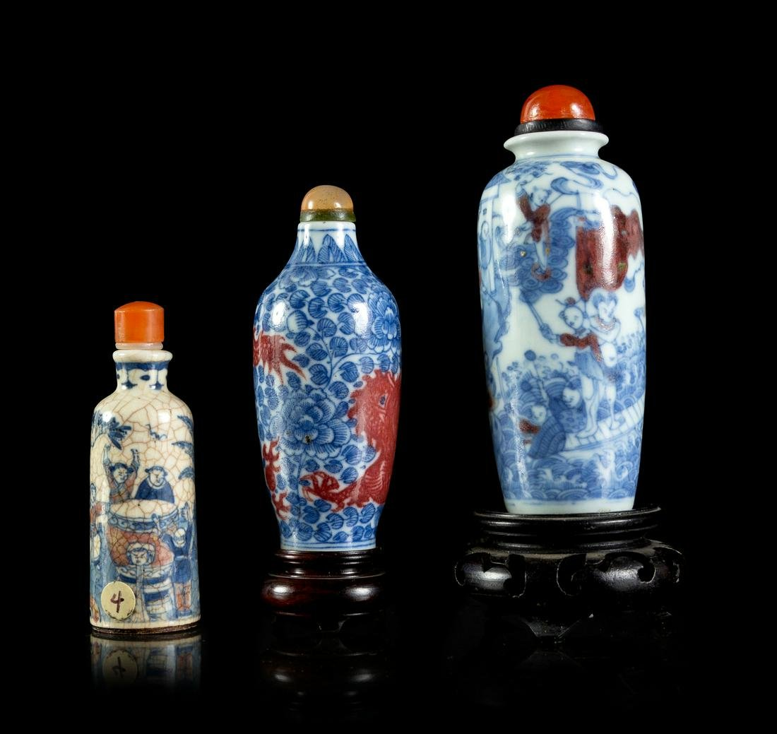 Three Underglazed Blue and Red Porcelain Snuff Bottles