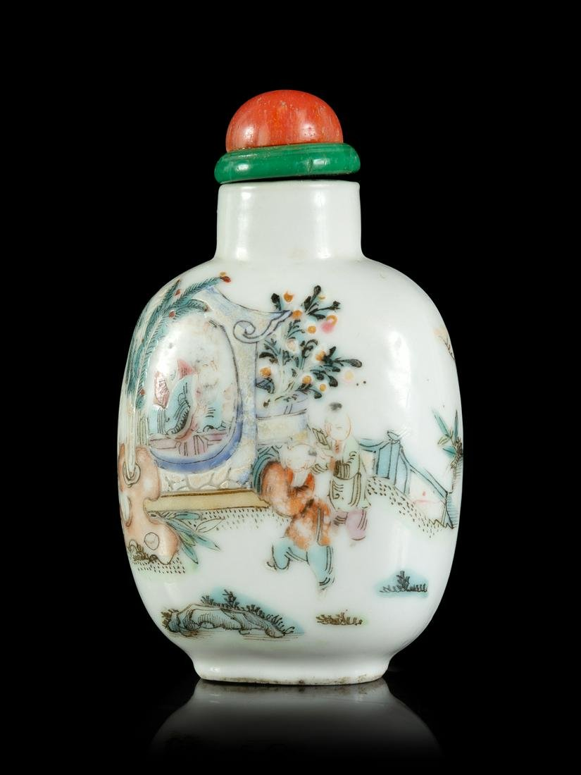 A Famille Rose Porcelain Snuff Bottle Height 2 3/8 in.,