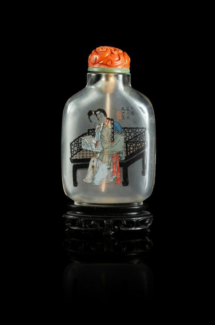 An Inside Painted Rock Crystal Snuff Bottle