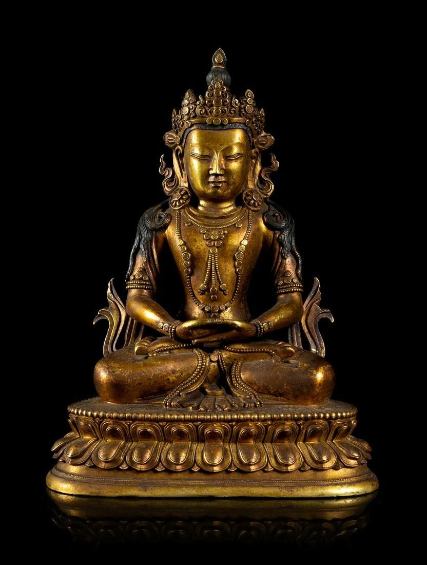 A Sino-Tibetan Gilt Bronze Figure of a Bodhisattva
