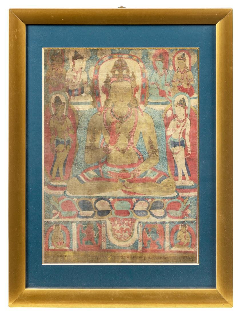 A Tibetan Thangka Image: 26 1/8 x 18 3/4 in., 66 x 48