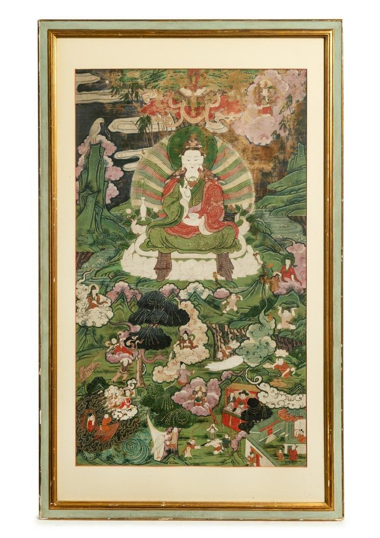 A Tibetan Thangka Image: height 30 x width 17 1/4 in.,
