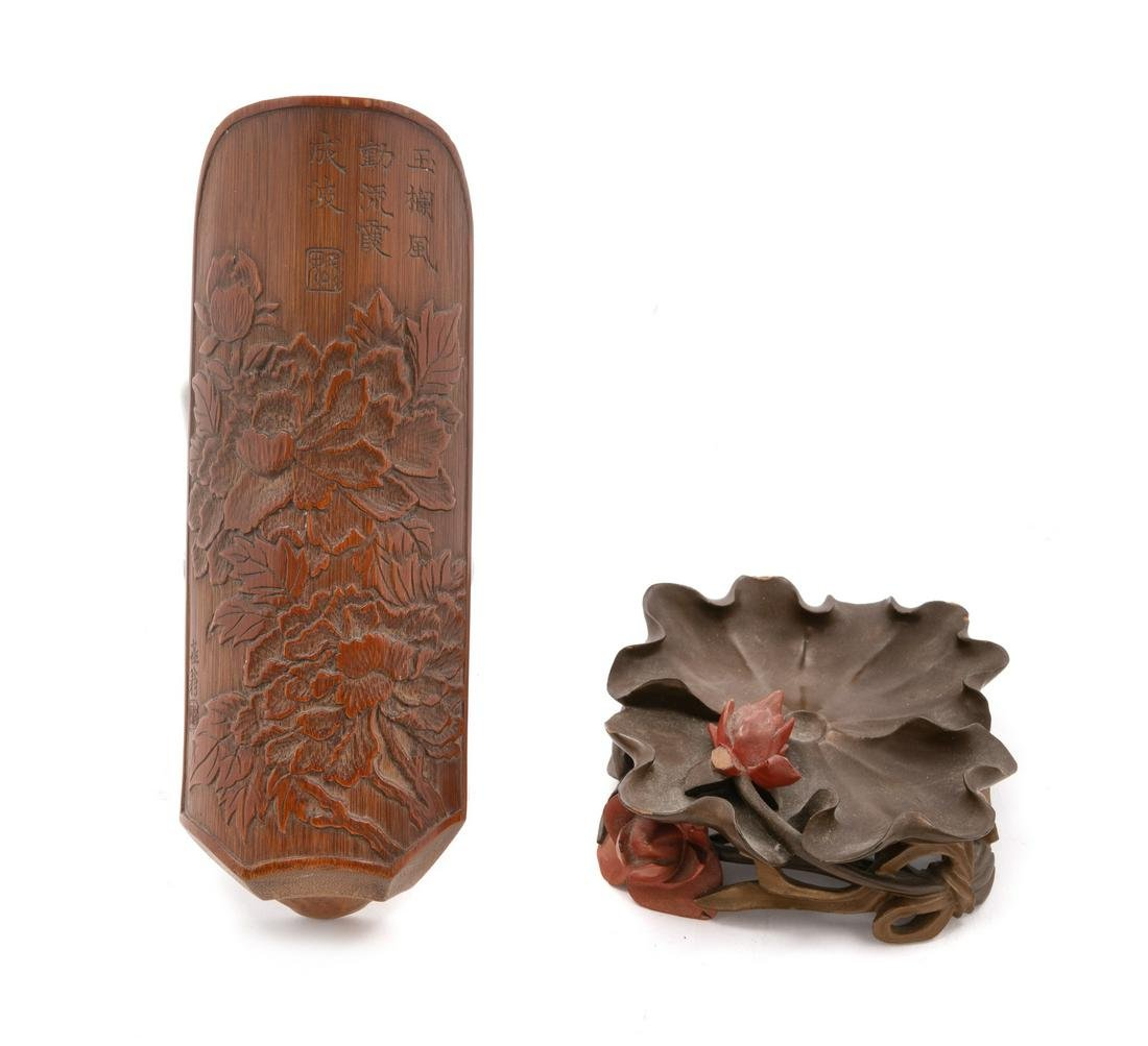 A Carved Bamboo Tea Scoop and a Fuzhou Lacquer Brush