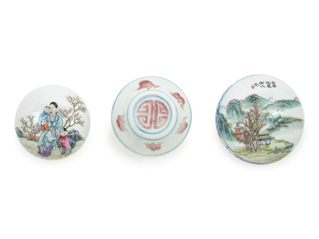 Three Chinese Porcelain Seal Paste Boxes and Covers