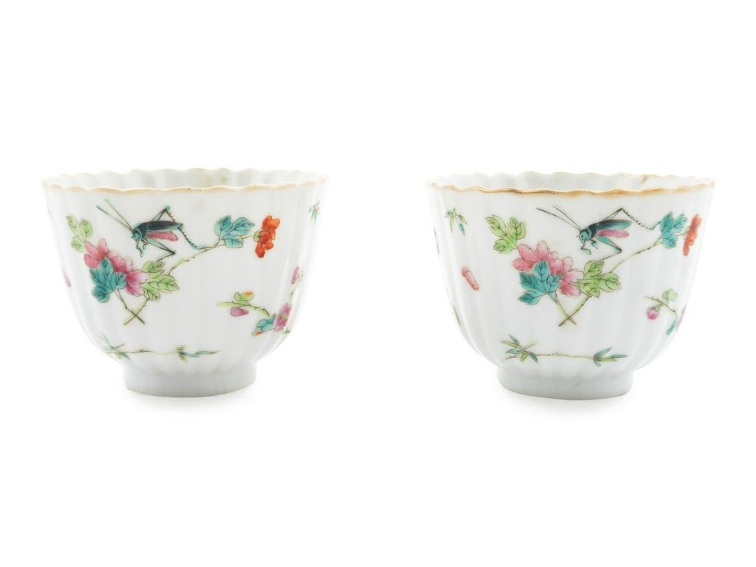 A Pair of Chinese Famille Rose Porcelain Cups Height 2