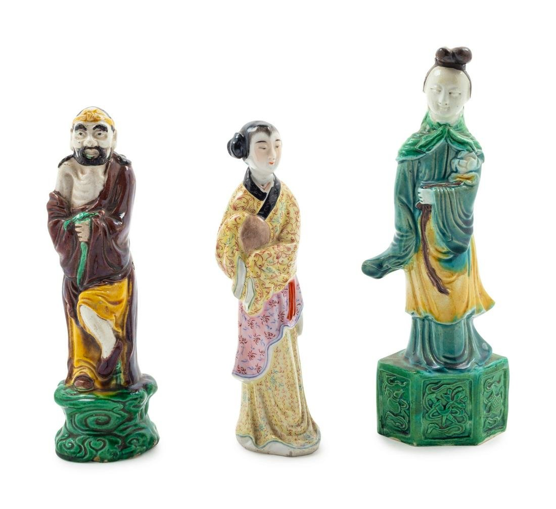 Three Chinese Porcelain Figures Tallest: height 9 1/2