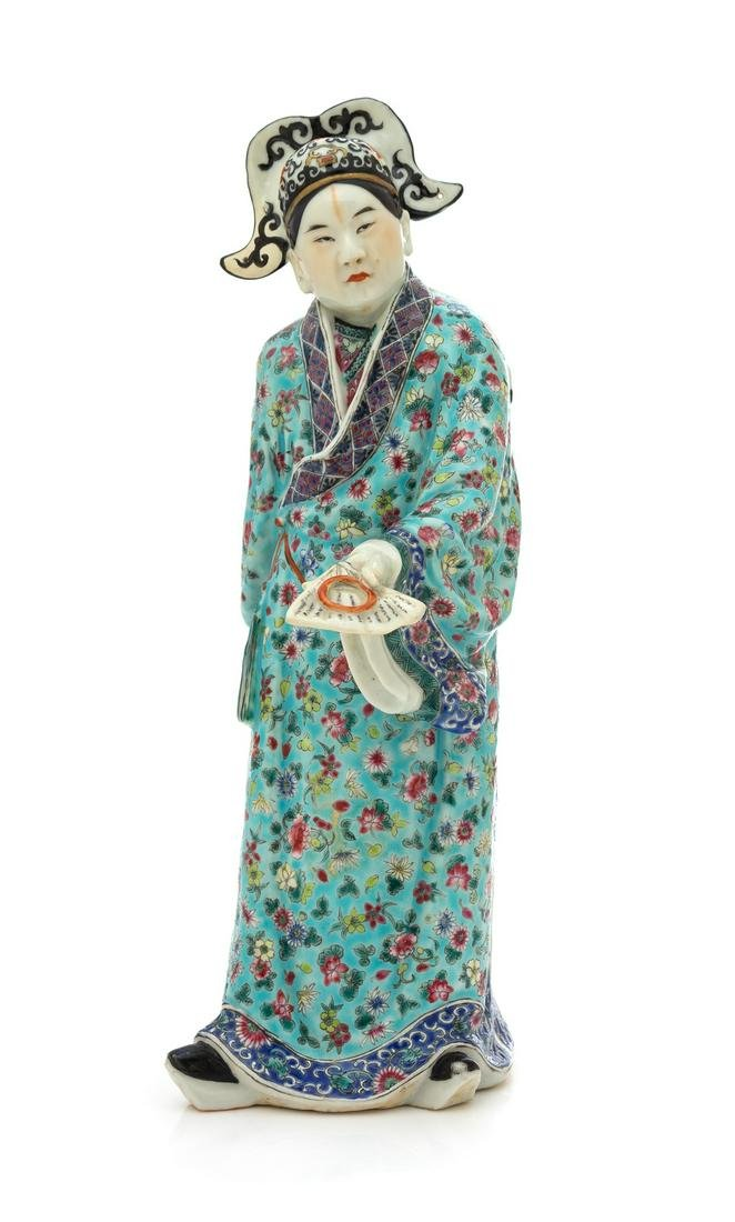 A Chinese Famille Verte Porcelain Standing Figure