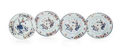 Four Chinese Export Porcelain 'Imari' Pattern Plates