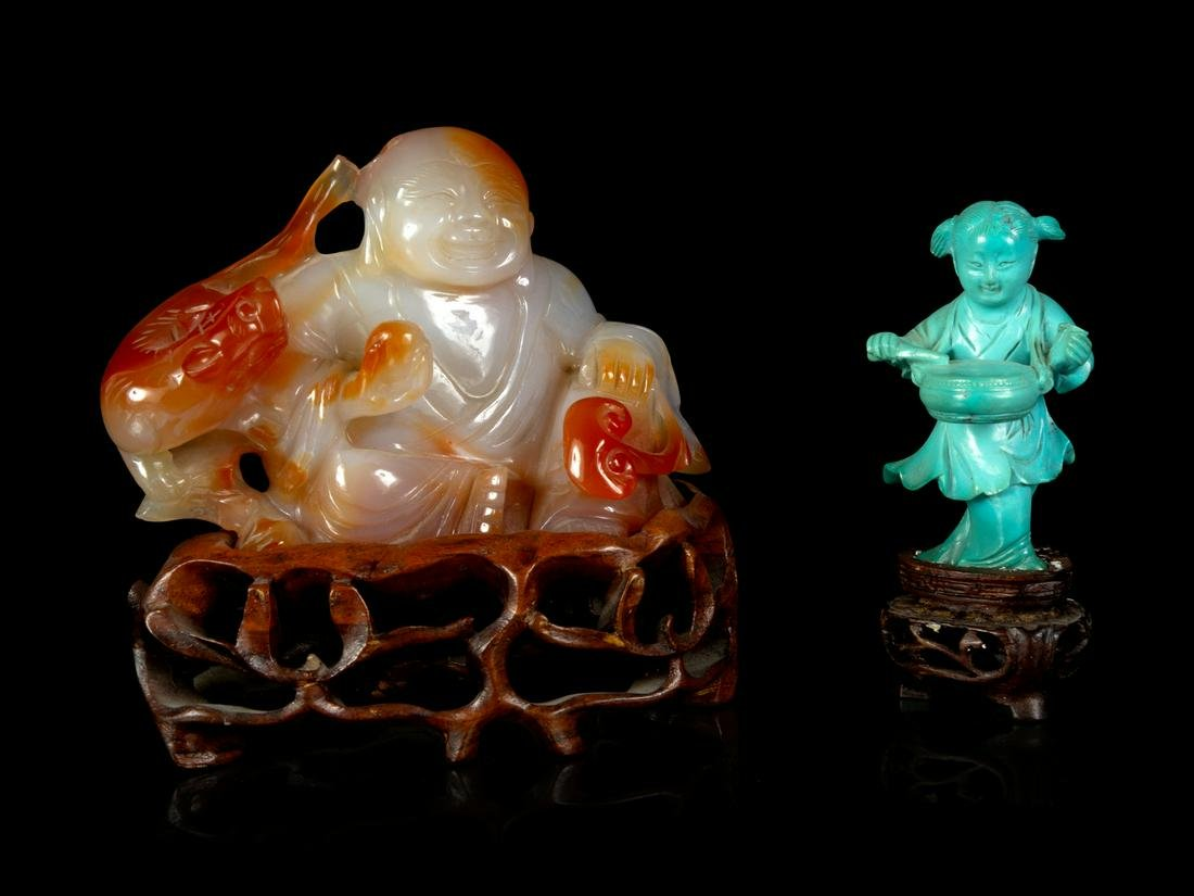 Two Chinese Hardstone Figures Larger: height 2 1/2 x