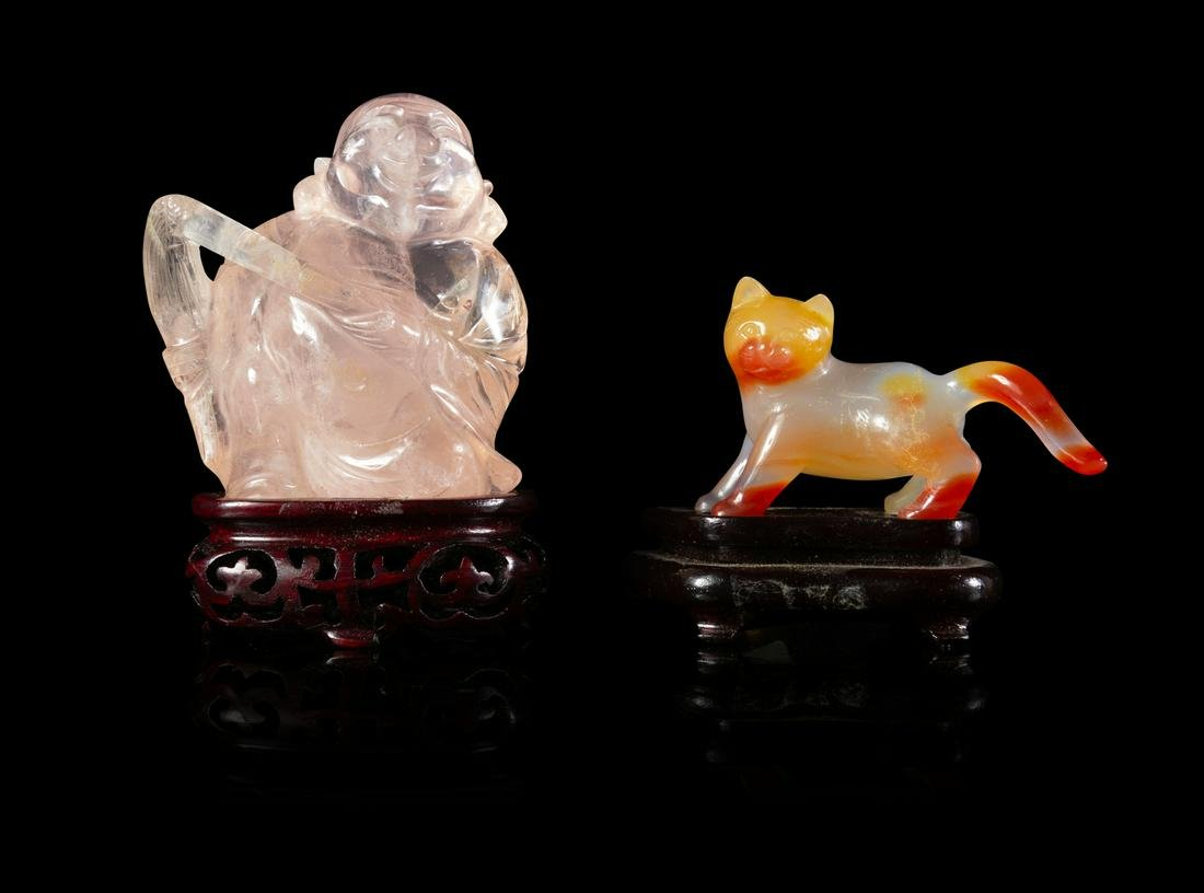 Two Chinese Hardstone Figures Taller: height 3 7/8 in.,