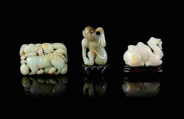 Three Chinese Jade Articles Longest: length 3 1/2 in.,