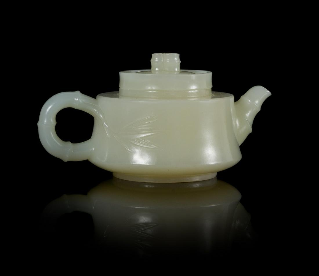 A Chinese White Jade 'Bamboo' Teapot Width 3 7/8 in.,