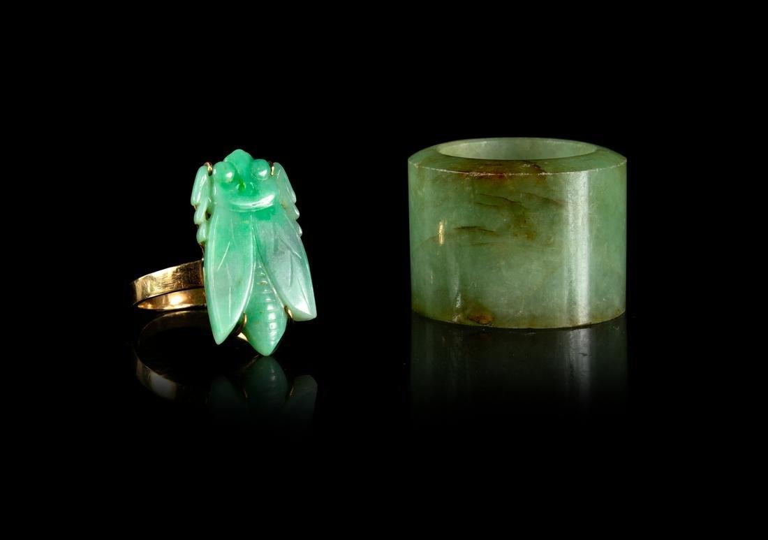 Two Chinese Jadeite Rings Largest interior: diam 7/8