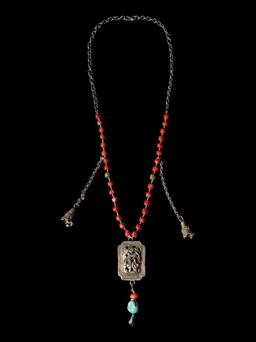 A Chinese Silver Necklace Length 23 3/4 in., 60 cm.