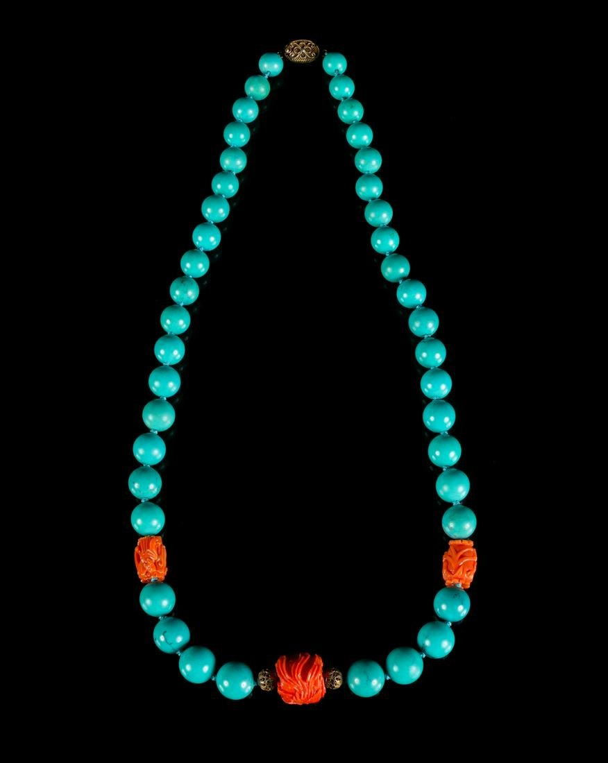 A Chinese Turquoise and Coral Beaded Necklace Length 12