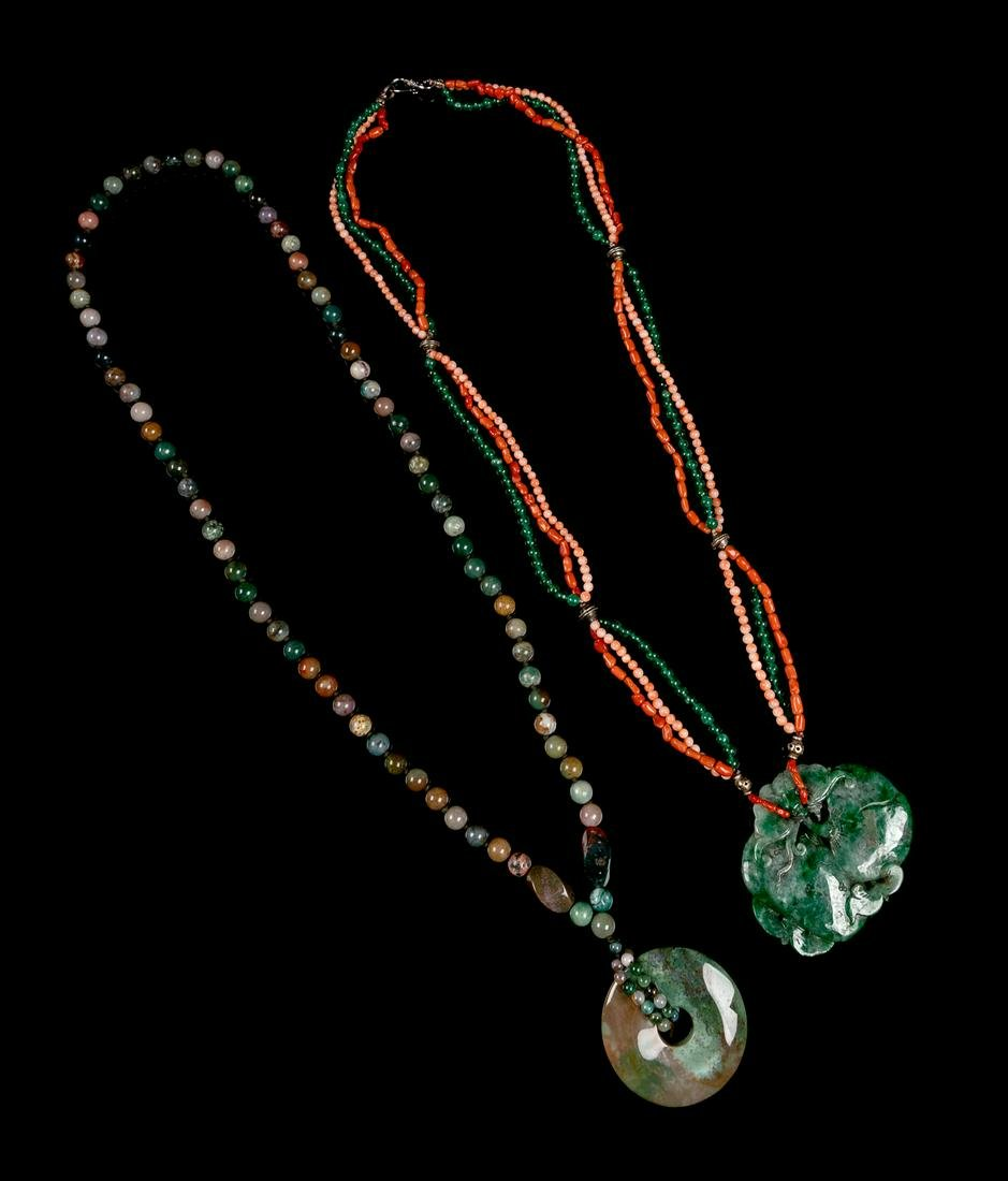 Two Chinese Hardstone Beaded Necklaces Larger: length