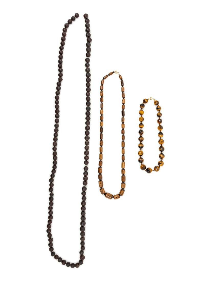 Three Strands of Chinese Beaded Necklaces Longest