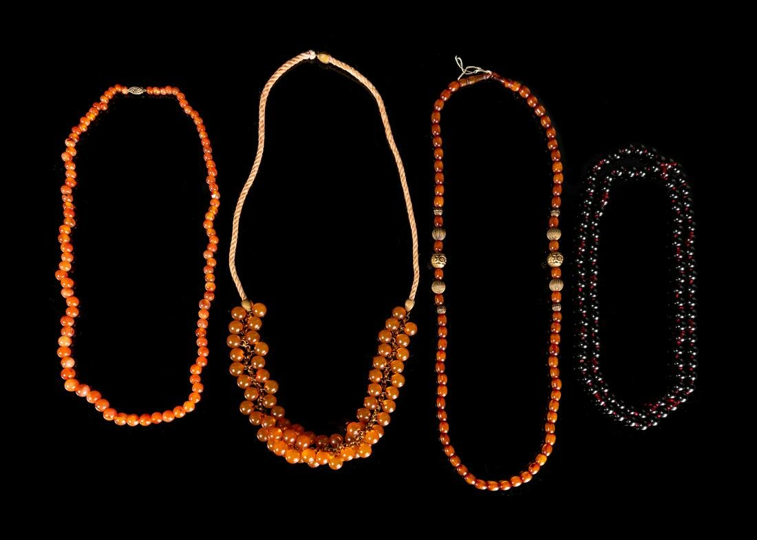 Eight Strands of Chinese Beaded Necklaces Longest: