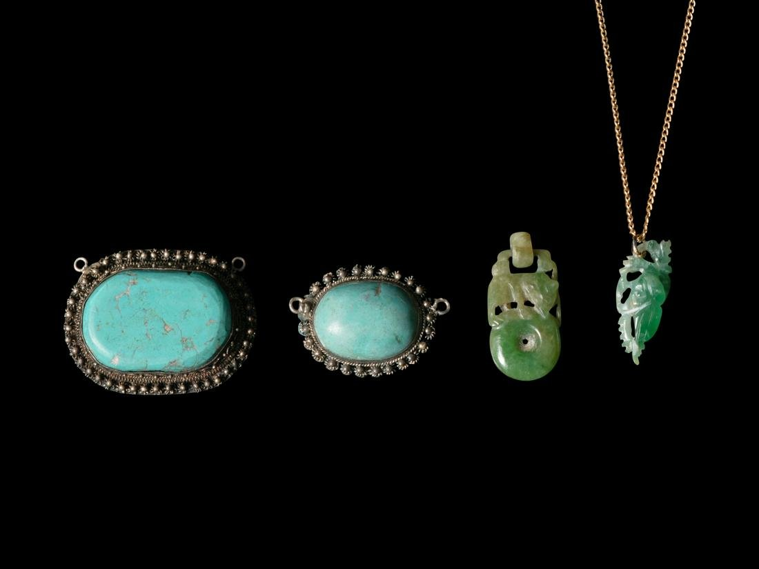 Four Chinese Jadeite and Turquoise Jewelry Necklace: