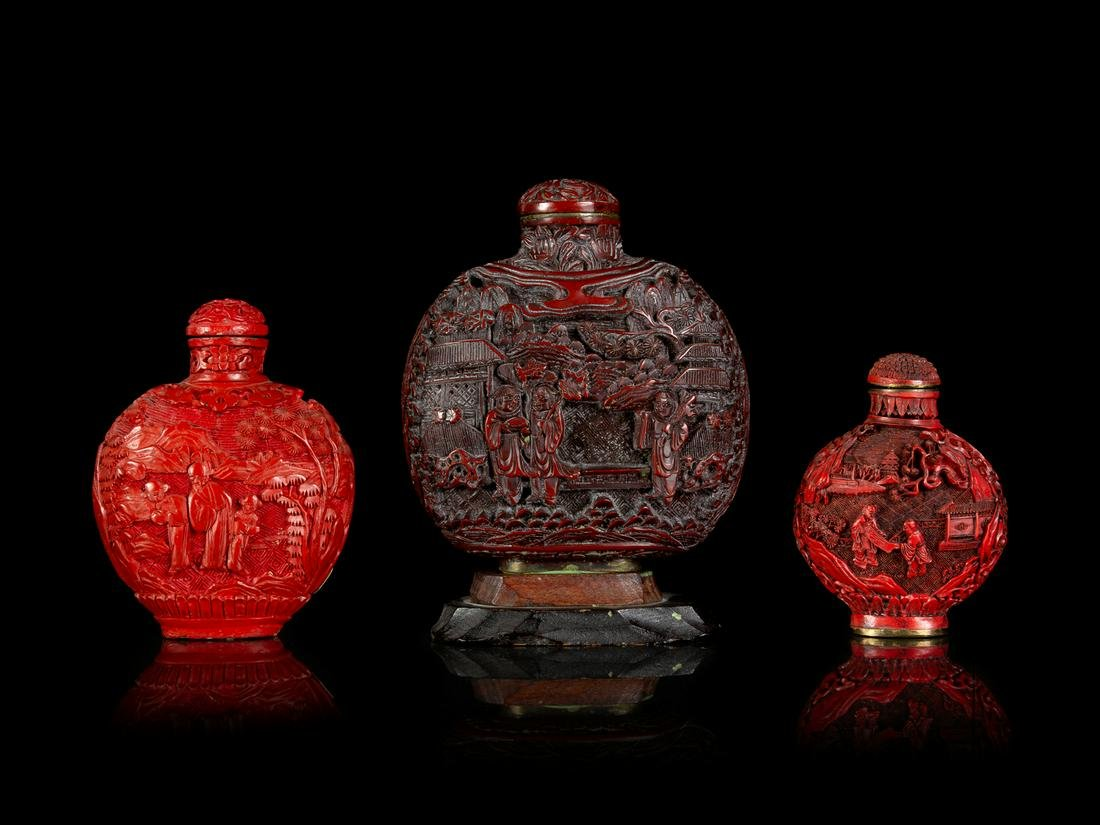 Three Chinese Cinnabar Lacquer Snuff Bottles Largest: