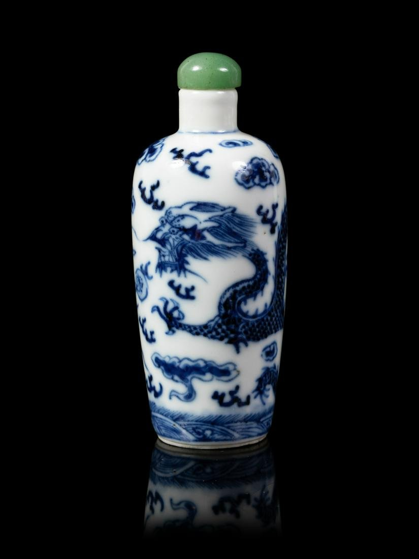 A Chinese Blue and White Porcelain Snuff Bottle Height