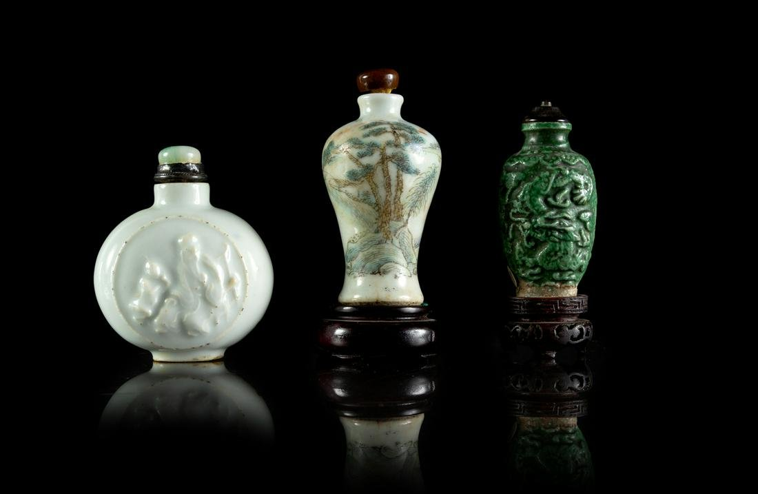 Three Chinese Porcelain Snuff Bottles Largest: height 2