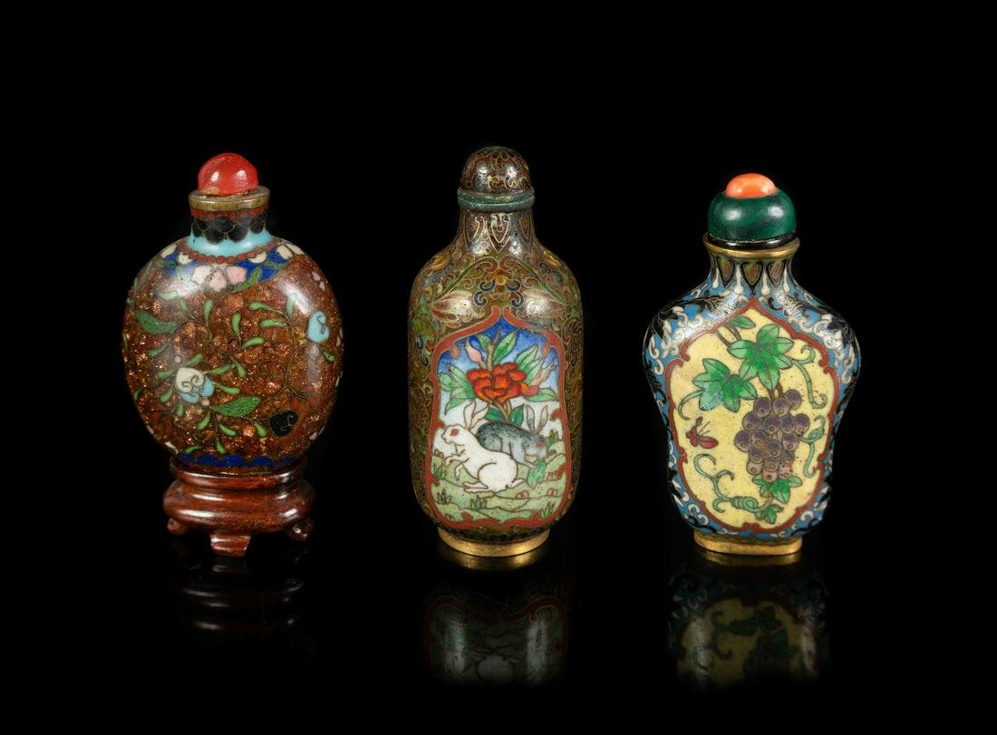 Three Chinese Cloisonne Enamel Snuff Bottles Largest:
