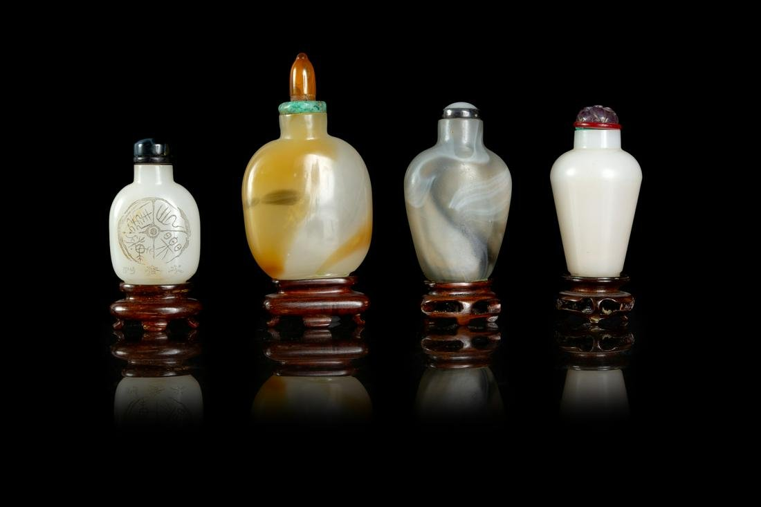 Four Chinese Peking Glass Snuff Bottles Largest: height