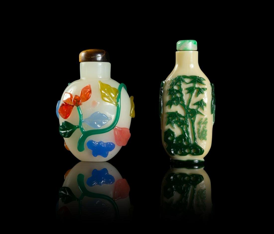 Two Chinese Peking Glass Snuff Bottles Taller: height 2