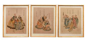 Three Chinese Ink and Color on Silk Paintings Image
