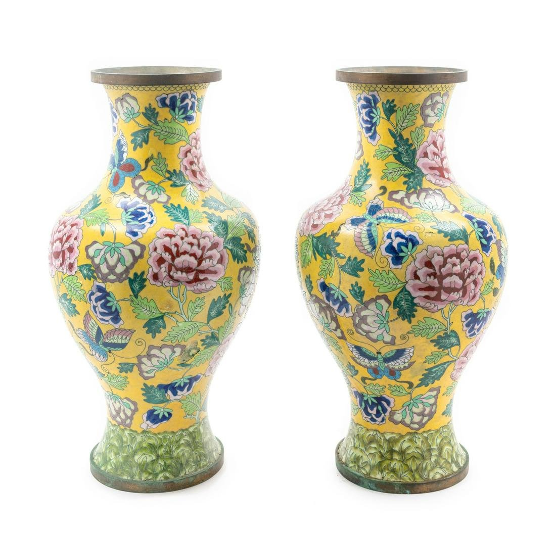 A Pair of Chinese Canton Enamel on Copper Vases Height