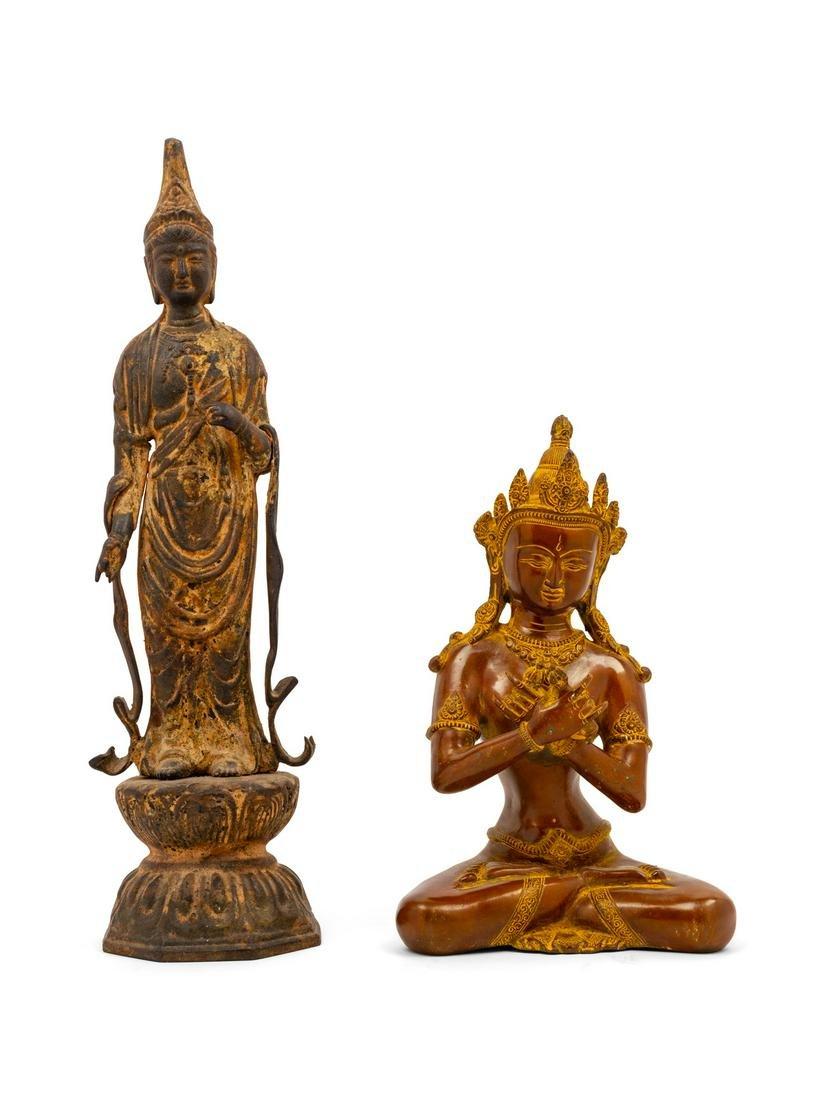 Two Sino-Tibetan Bronze Figures Taller: height 20 1/2