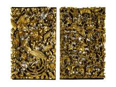 Two Chinese Gilt Decorated Carved Wood Wall Panels