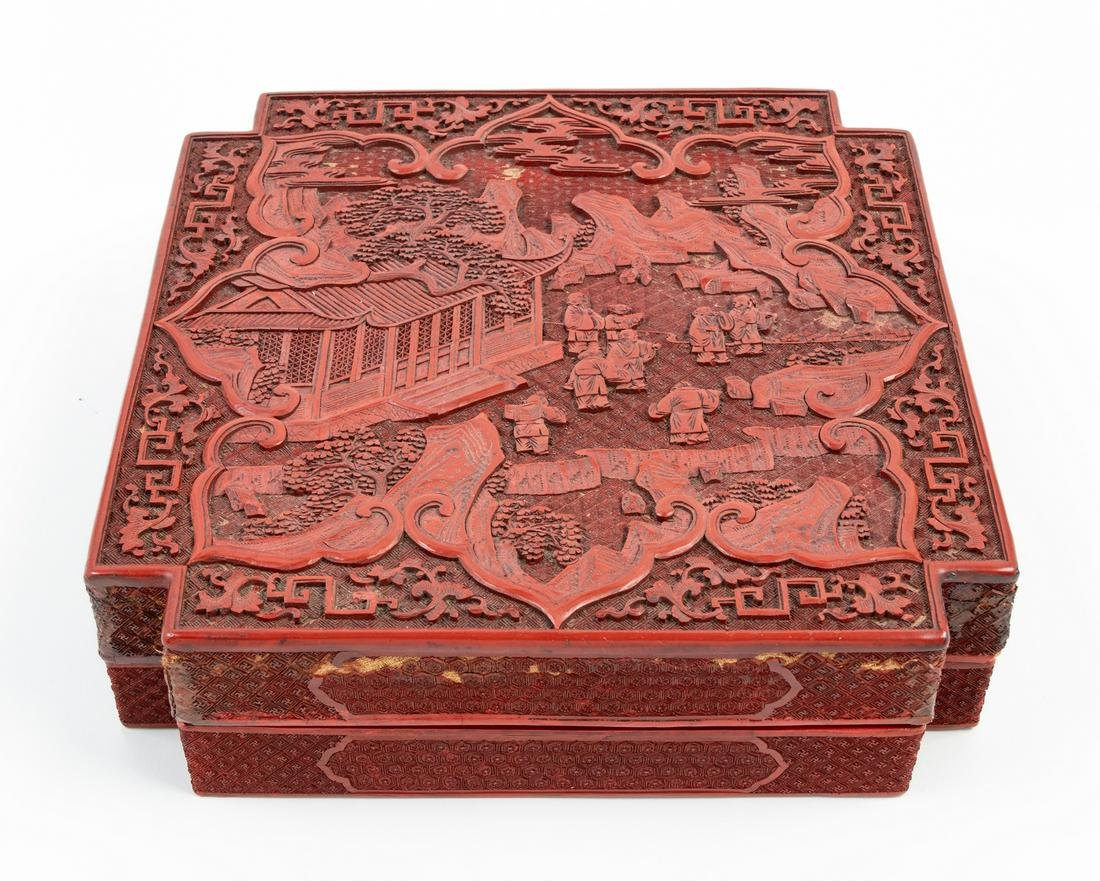 A Large Chinese Cinnabar Lacquer Square Box and Cover