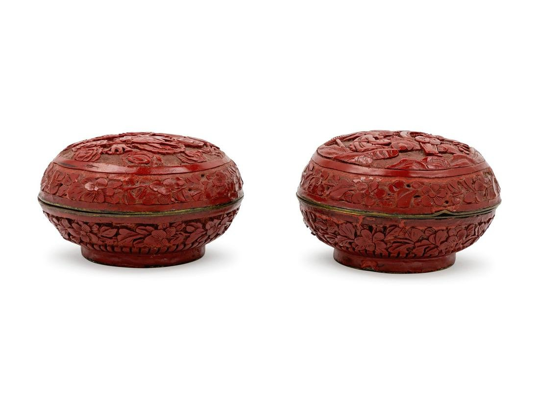 A Pair of Chinese Cinnabar Lacquer Covered Boxes Width