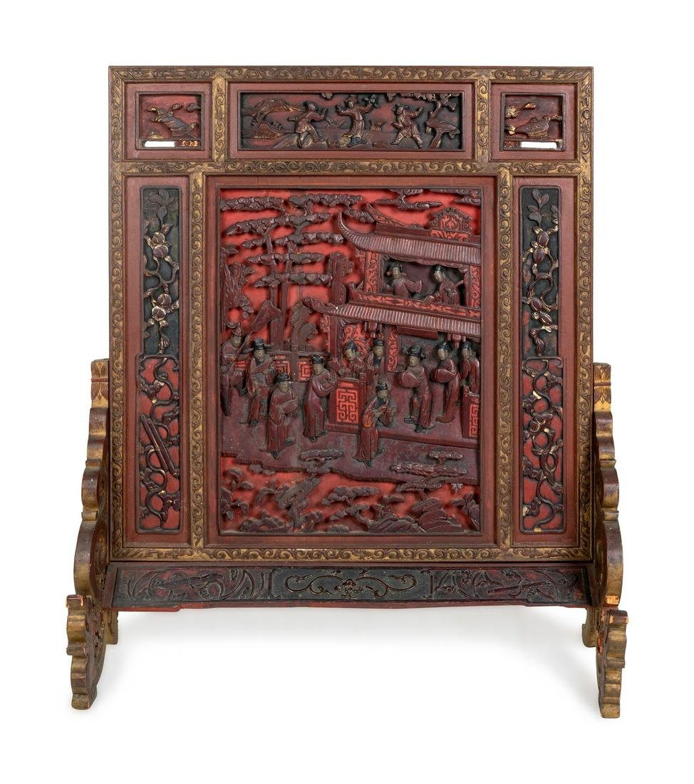 A Large Chinese Carved Red Lacquer Wood Table Screen